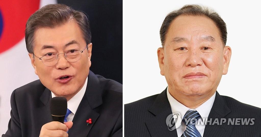 资料图片:文在寅(左)和金英哲(韩联社)