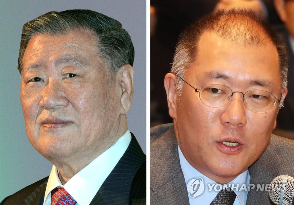 资料图片:现代汽车集团名誉会长郑梦九(左)与会长郑义宣 韩联社