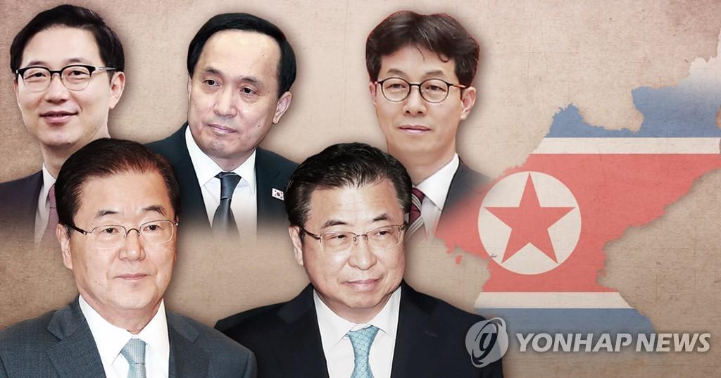 资料图片:图为韩国访朝特使团成员。上排左起为千海成、金相均、尹建永,下排左起为郑义溶、徐薰。(韩联社)