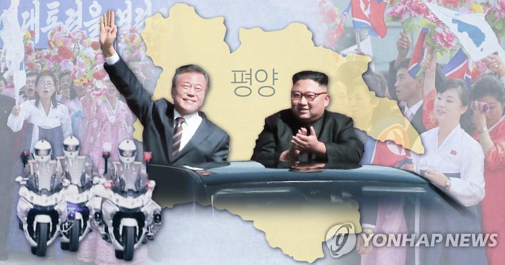 韩朝首脑在平壤乘车游街(韩联社)