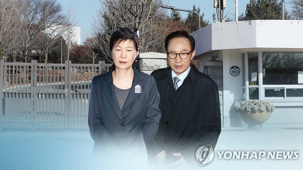 资料图片:朴槿惠(左)和李明博 韩联社TV供图