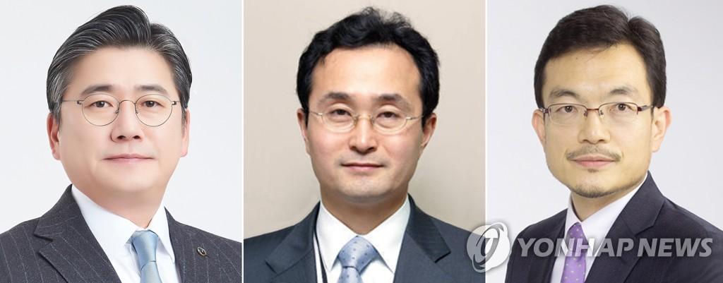 资料图片:左起为郑升一、朴原住和赵世暎。(韩联社)