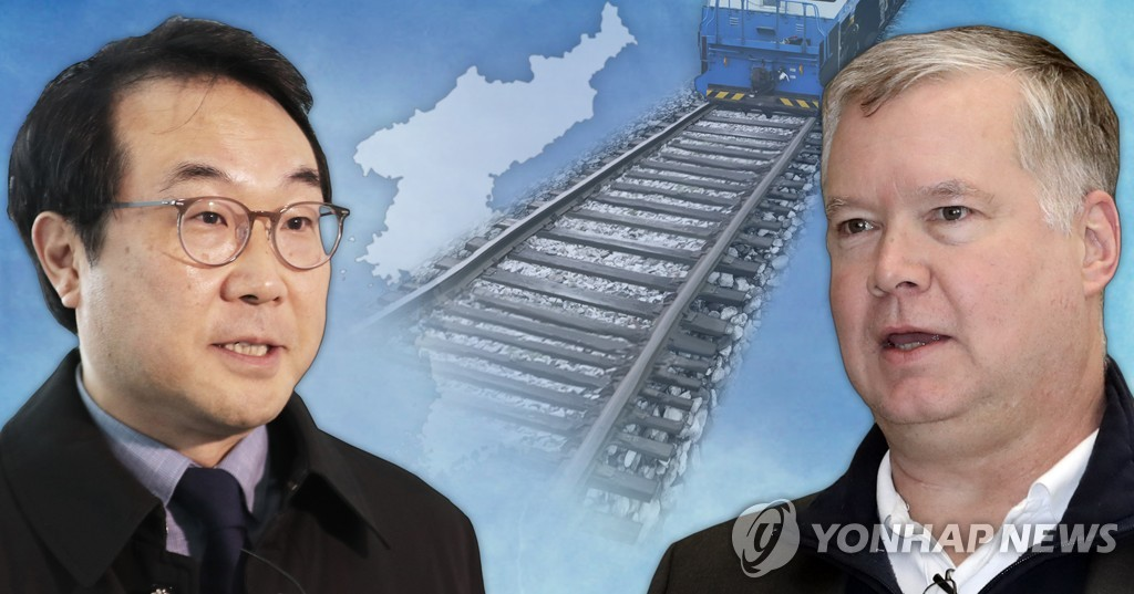 资料图片:李度勋(左)和比根(韩联社)