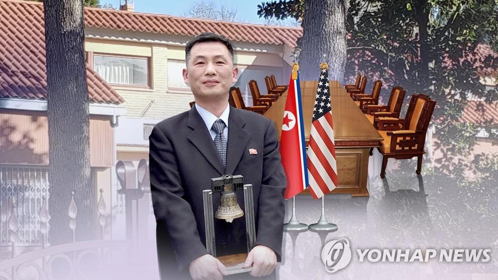 资料图片:朝鲜驻意大利临时代办曹成吉(音)(韩联社/韩联社TV)
