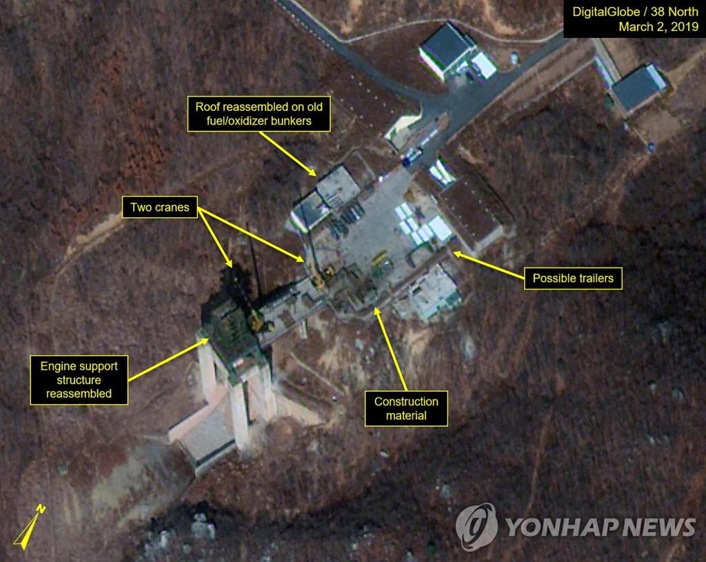 资料图片:朝鲜铁山郡导弹发射场的卫星图像 韩联社