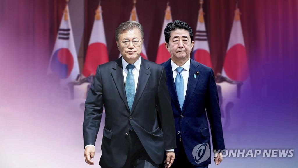 资料图片:韩国总统文在寅(左)与日本首相安倍晋三 韩联社
