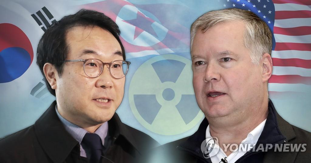 资料图片:李度勋(左)和比根 韩联社