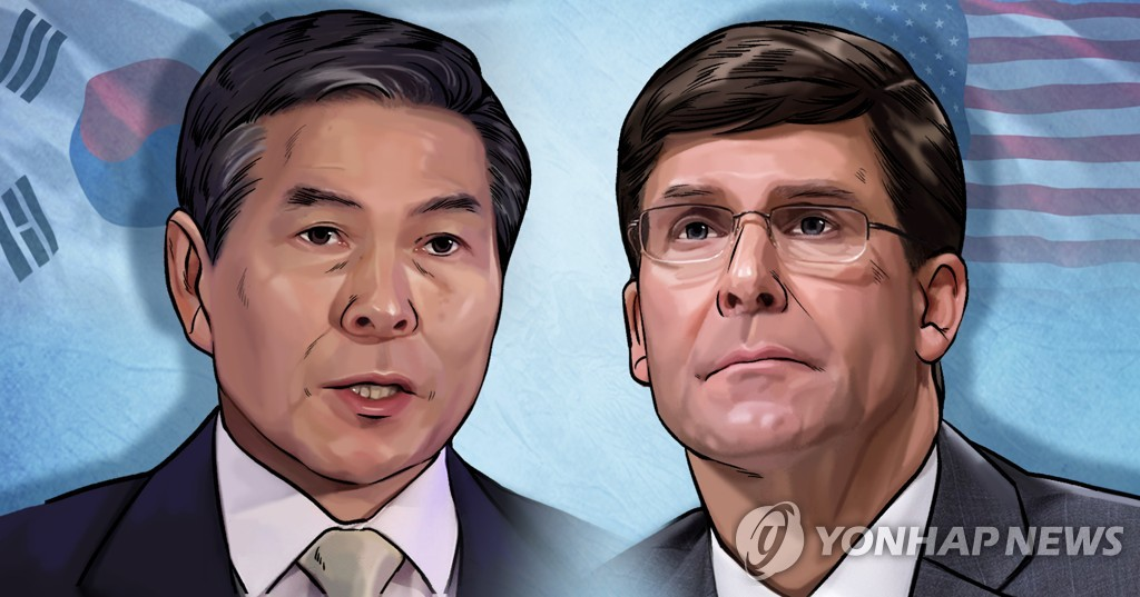 韩国防长郑景斗(左)和美国防长马克·埃斯珀