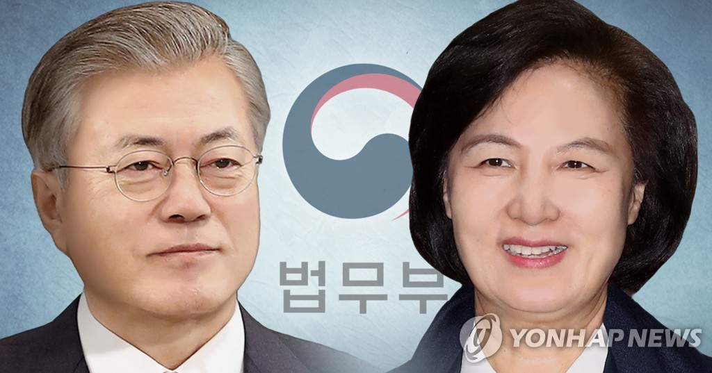资料图片:文在寅(左)和秋美爱 韩联社