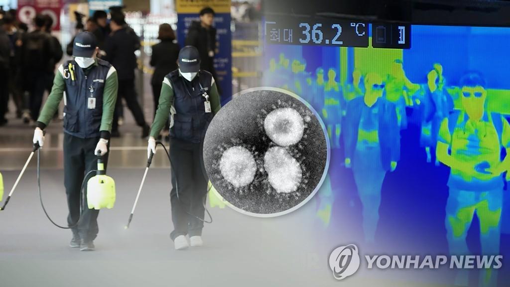 资料图片:机场防疫 韩联社