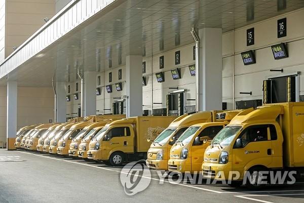 资料图片:SSG.COM的配送车辆 韩联社/新世界集团INSIDE供图(图片严禁转载复制)