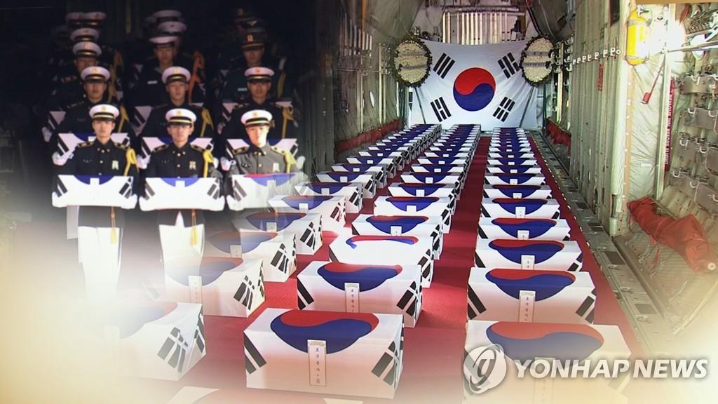 147具在朝阵亡韩军遗骸今回国