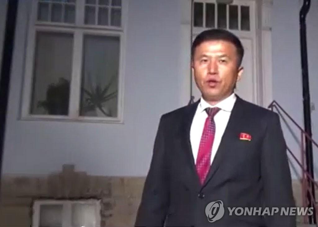 资料图片:朝鲜外务省负责美国事务的局长权正根 韩联社/韩联社TV截图