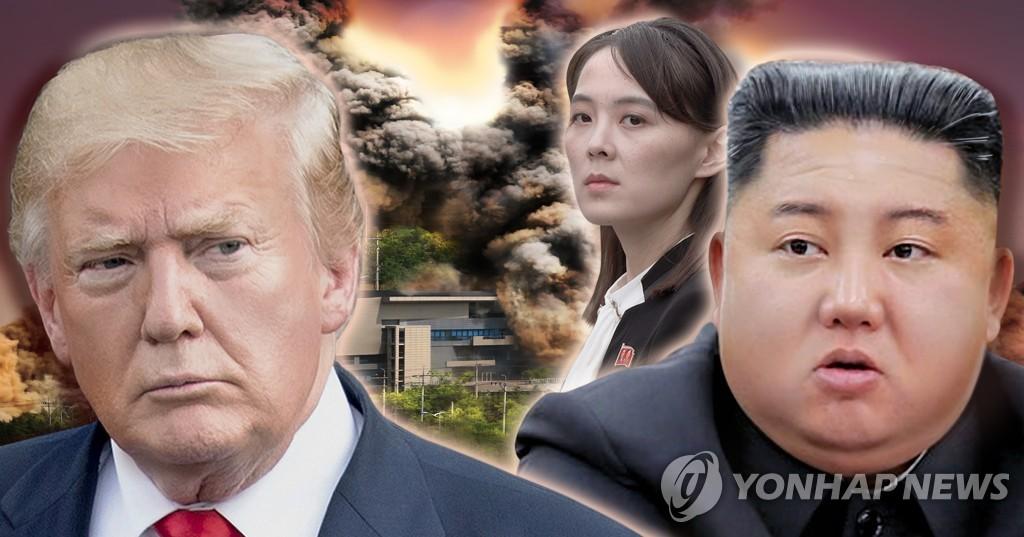 资料图片:特朗普(左起)、金与正、金正恩 韩联社