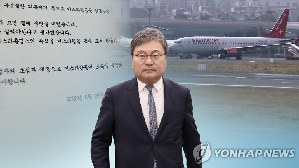 资料图片:易斯达航空创始人、执政党议员李相稷 韩联社TV供图