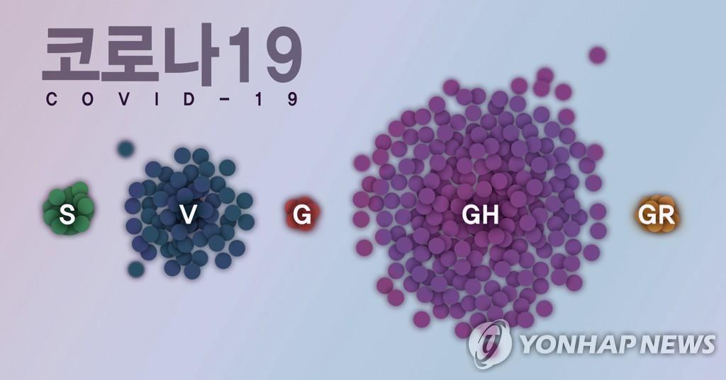 资料图片:韩国流行的主要新冠病毒(COVID-19)毒株分类图 韩联社