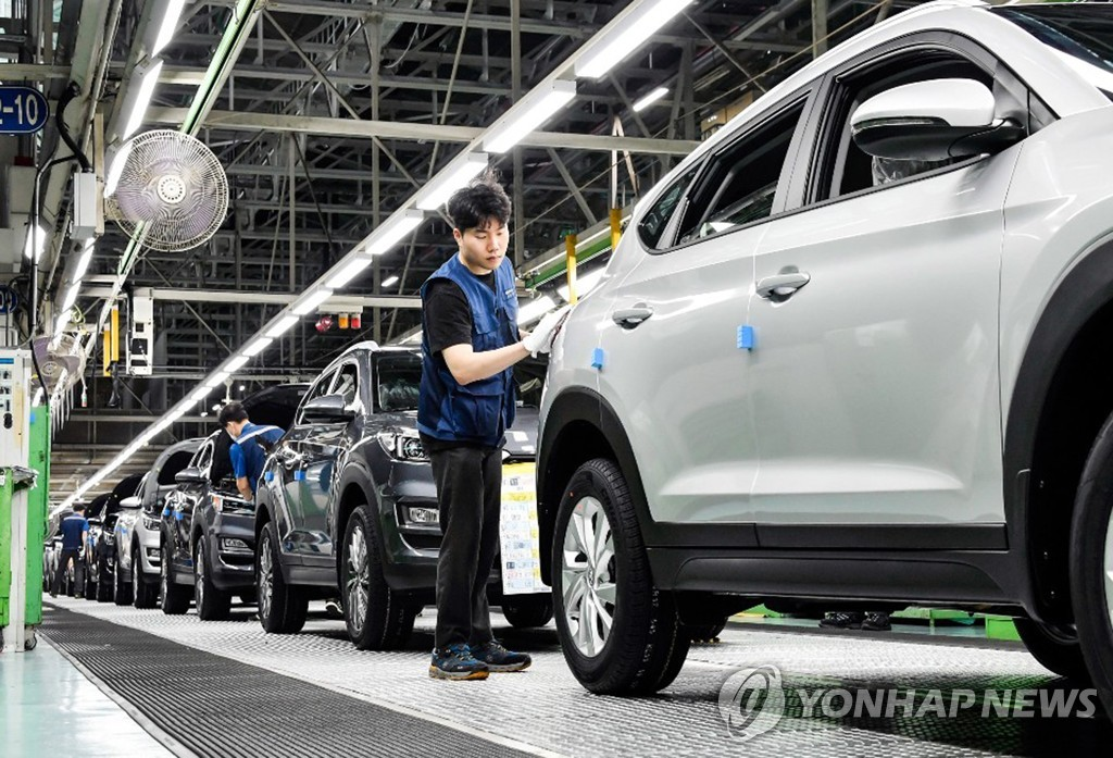 资料图片:现代汽车蔚山工厂KONA生产线 韩联社/现代汽车供图(图片严禁转载复制)