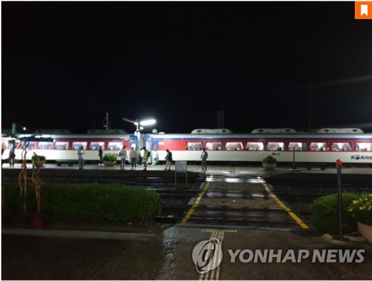 资料图片:长项线铁路停运。 韩联社/读者供图(图片严禁转载复制)
