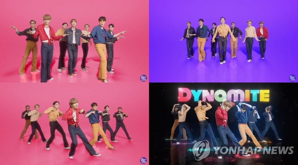 当地时间9月28日,防弹少年团在美国NBC电视台脱口秀《吉米今夜秀》献唱。 Big Hit娱乐供图(图片严禁转载复制)