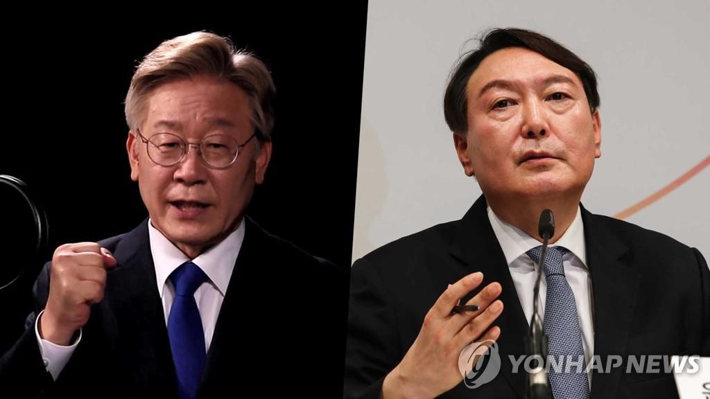 李在明(左)和尹锡悦 韩联社TV供图