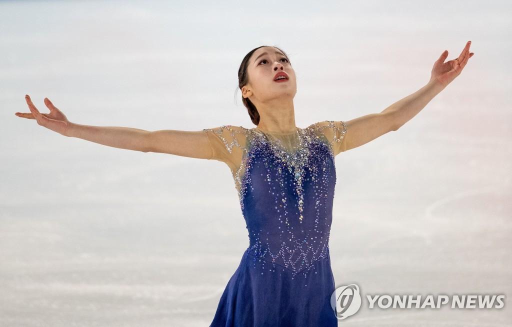 1月14日,刘永在洛桑冬青奥会女子单人滑自由滑比赛中。 韩联社/法新社(图片严禁转载复制)