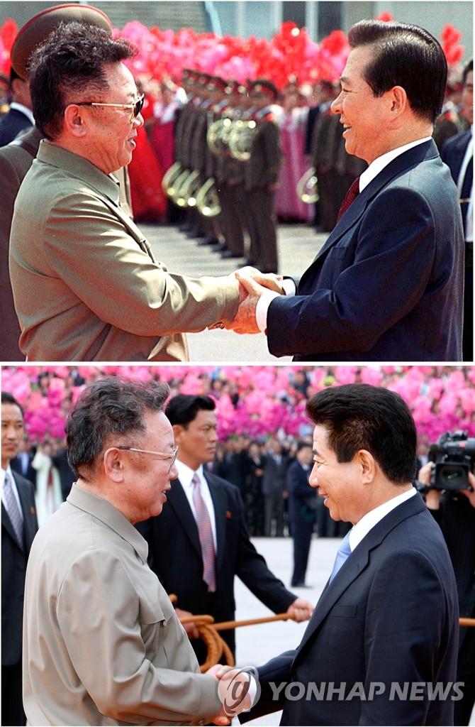 金正日2007年和2000年会晤时任韩国总统金大中和卢武铉时身穿野战夹克。 韩联社