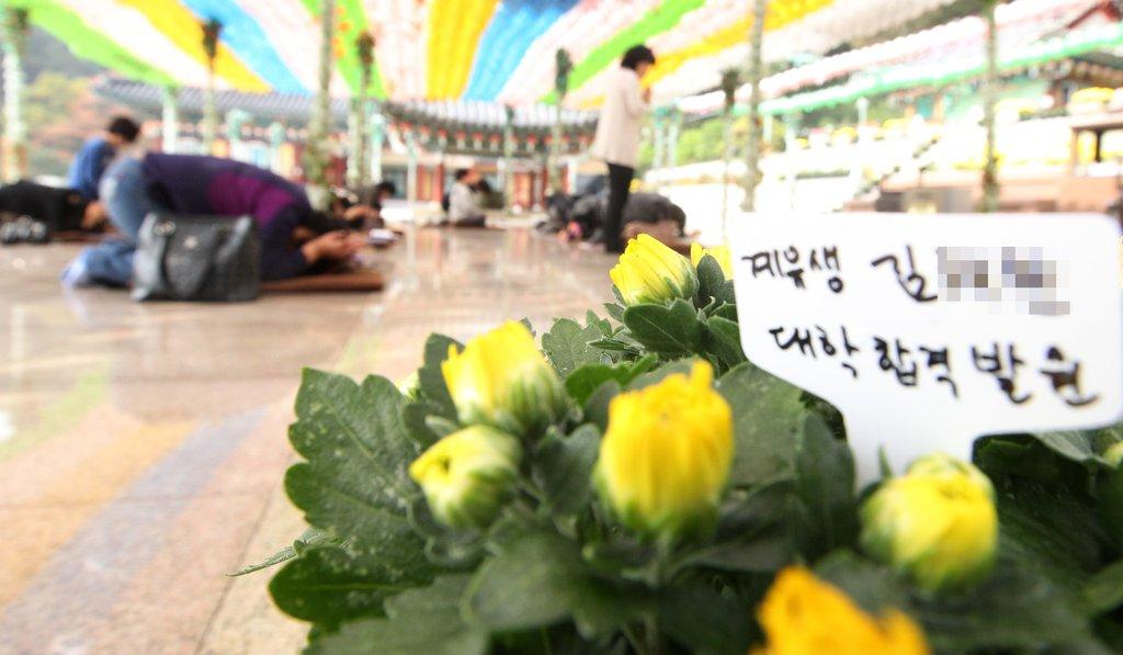 资料图片:清溪寺内信徒们虔诚祈祷。(韩联社)