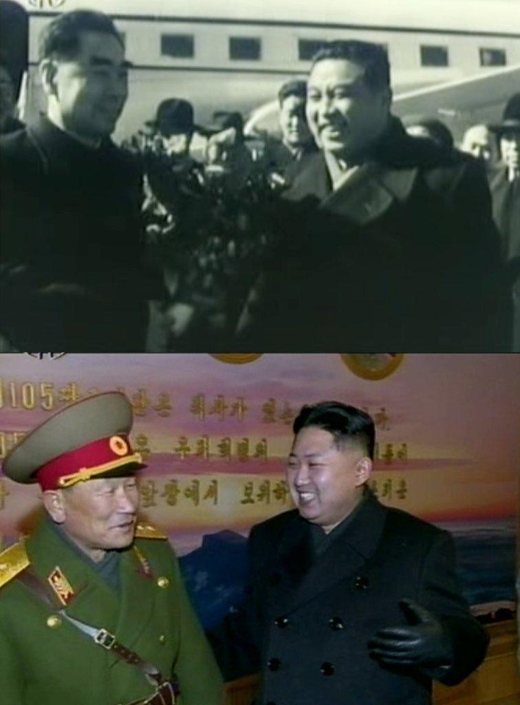 金氏爷俩隔代撞衫。 韩联社/朝鲜央视(图片仅限韩国国内使用,严禁转载复制)