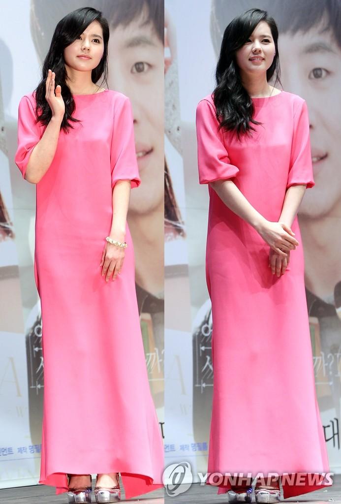 韩佳人穿粉红色连衣裙显气质