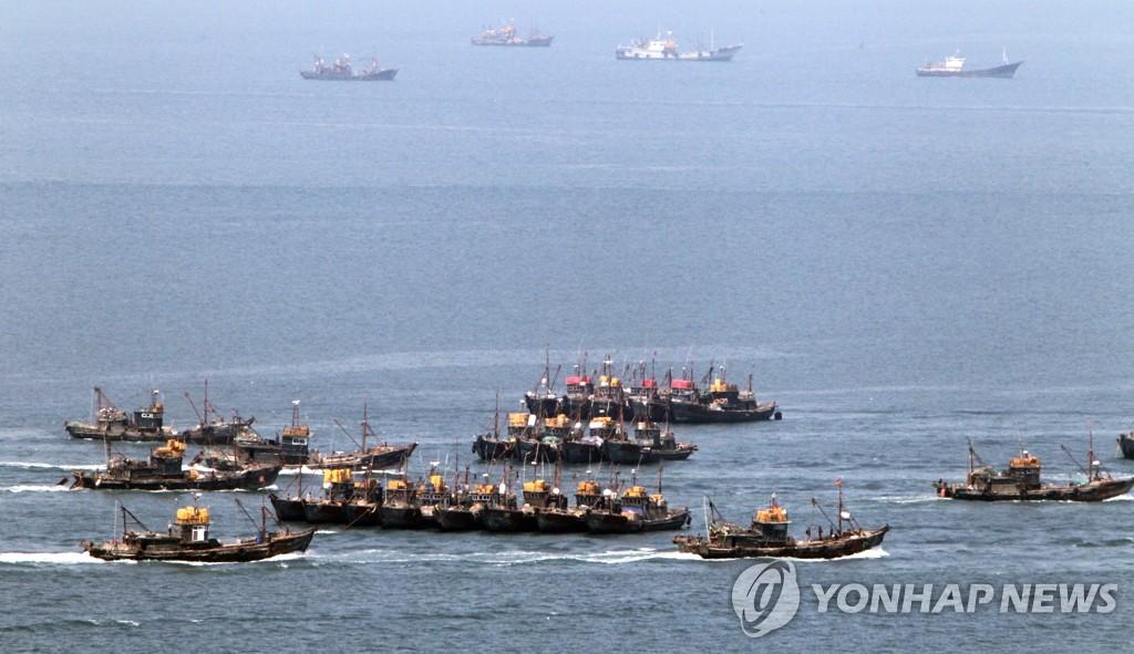 中国渔船在韩西部海域进行非法捕捞