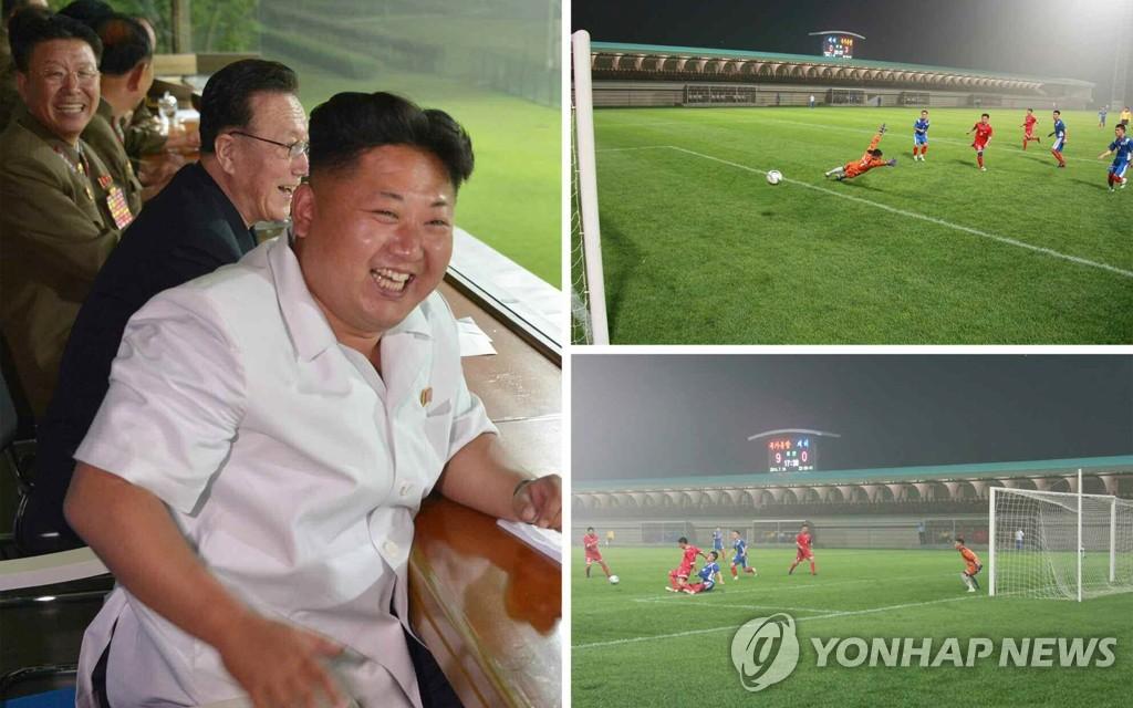 金正恩观看朝鲜亚运男足热身赛