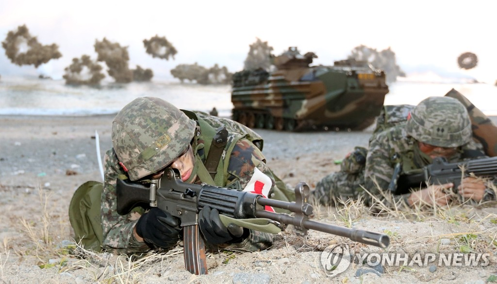 演习中的海军陆战队员