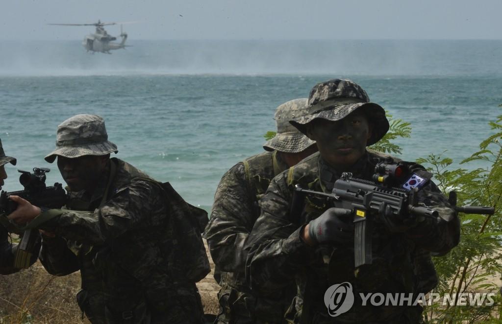 韩海军陆战队参加多国联合军演
