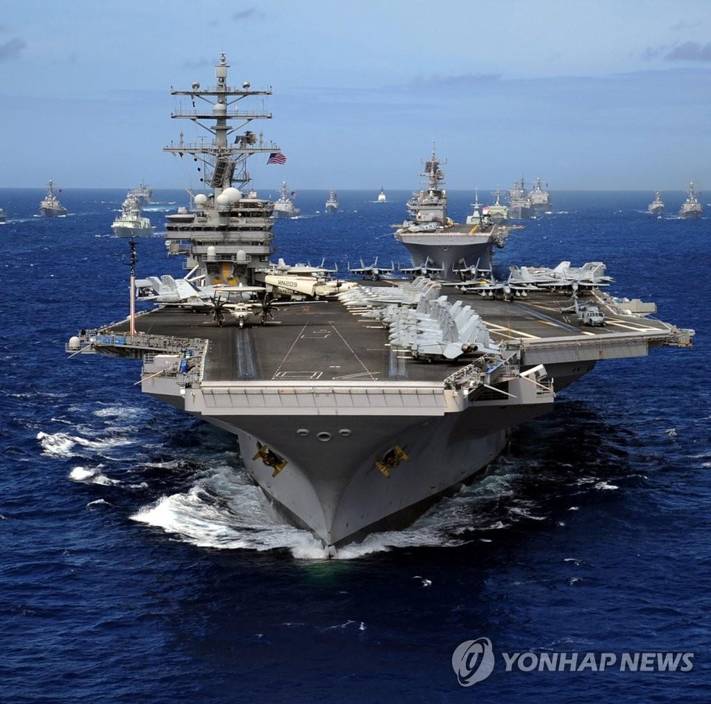 """美国核动力航空母舰""""里根号""""10月底韩"""