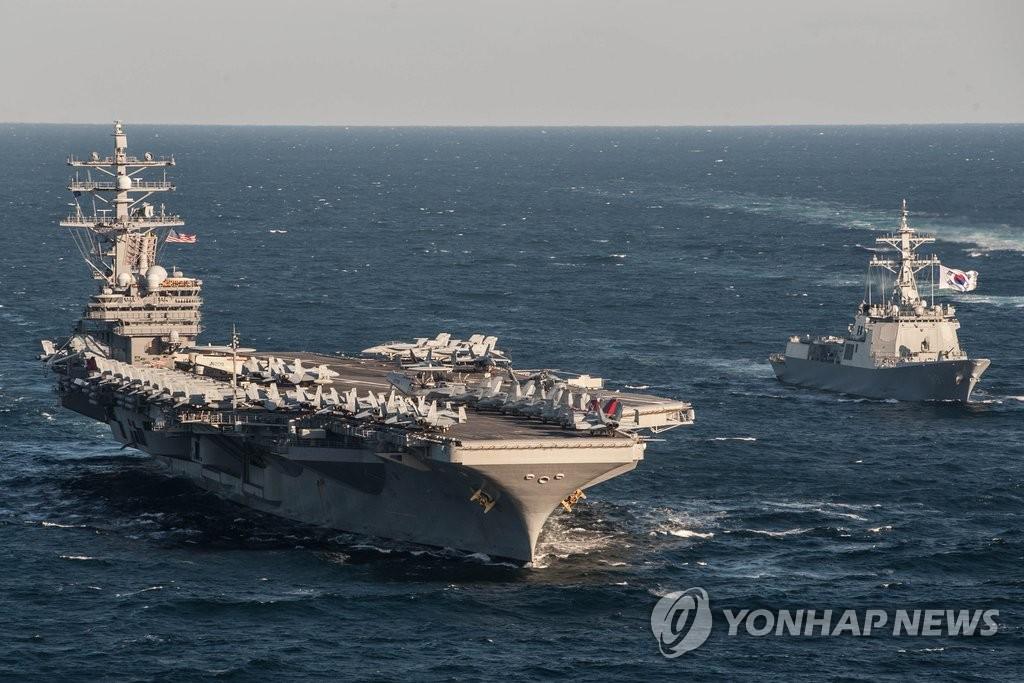 """""""里根号""""航母参加韩美机动演习"""