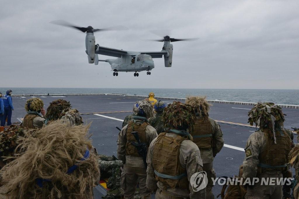 """资料图片:2016年3月9日,来自新西兰的陆军官兵正在参加韩美海军陆战队联合登陆演习""""双龙演习""""。(韩联社/韩国海军提供)"""
