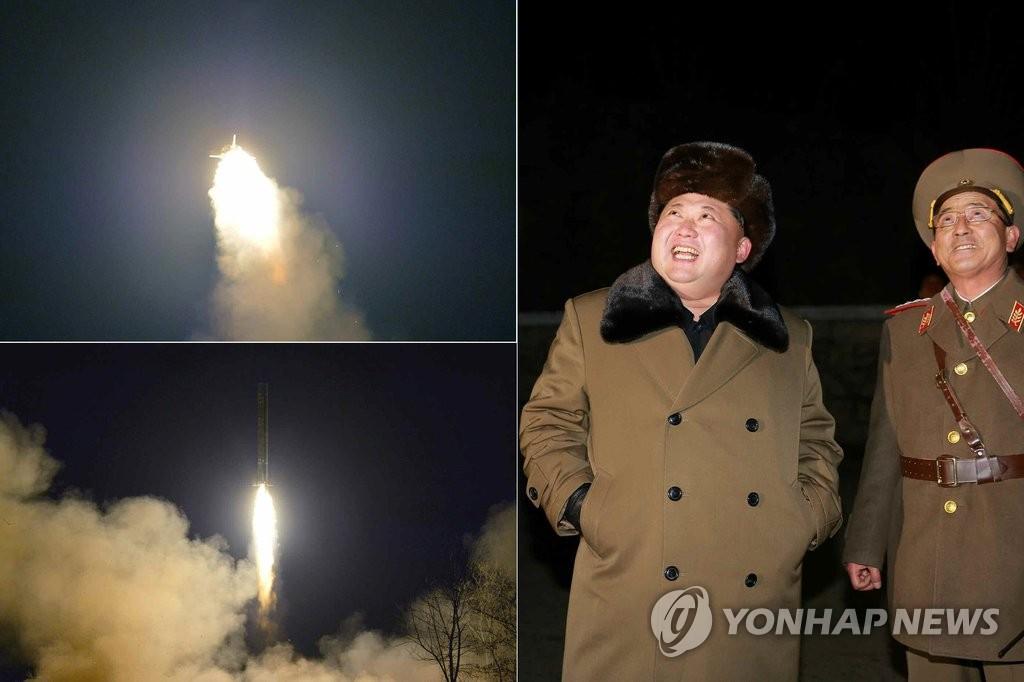 金正恩观摩弹道火箭试射