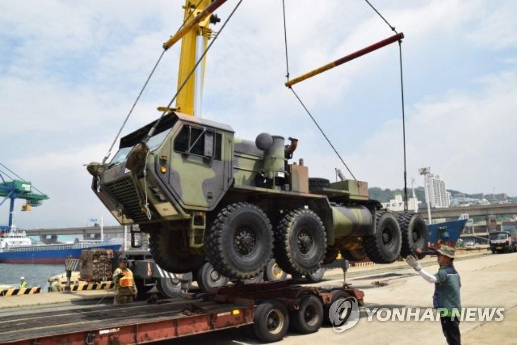驻日美军爱国者-3型导弹抵韩参演