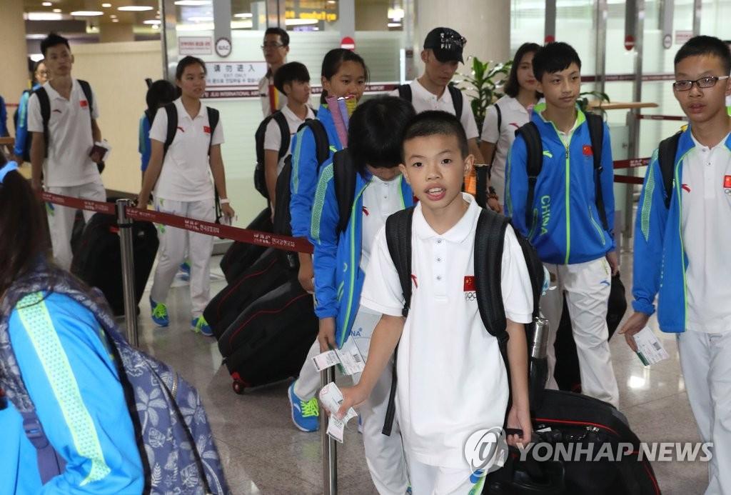 中国青少年运动员抵达济州