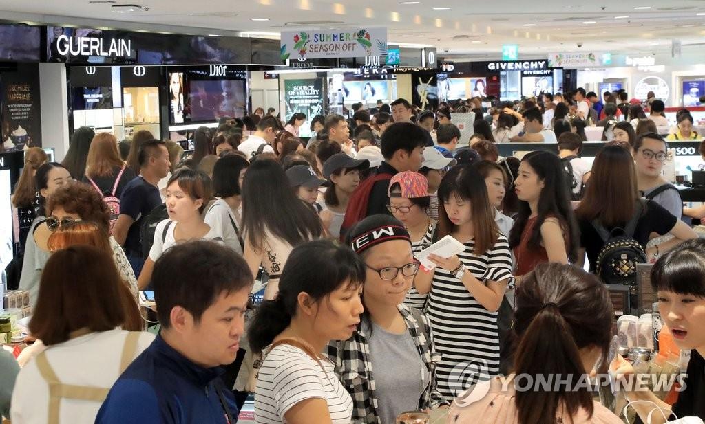 韩免税店借力中国游客生意火爆