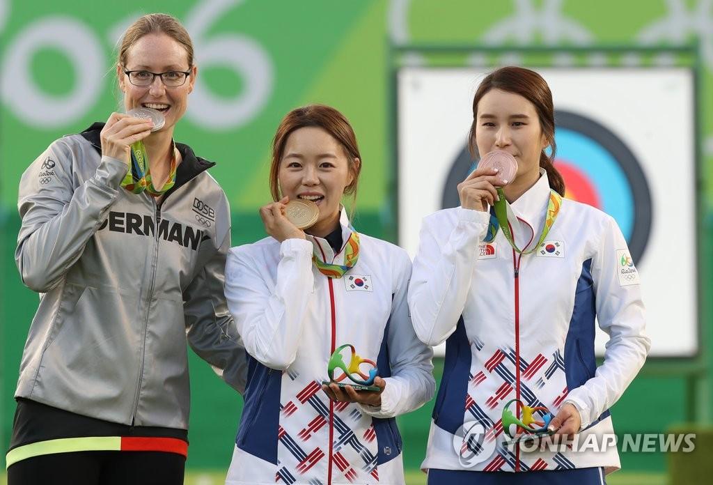 【里约奥运】韩国女子射箭队夺团体赛金牌