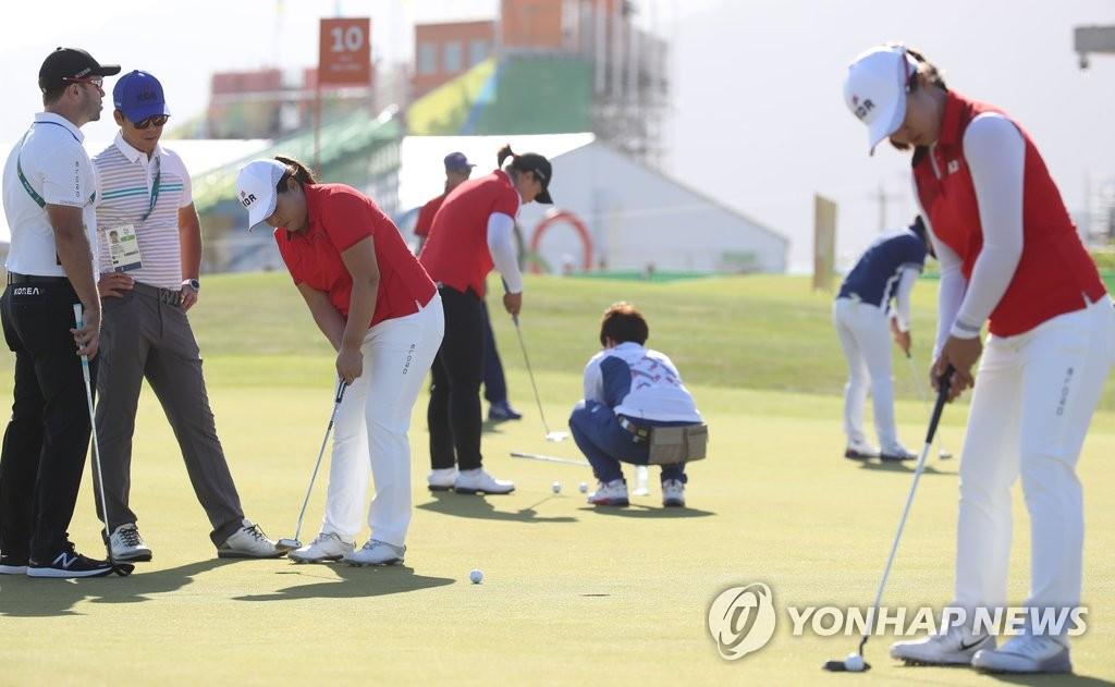 韩国女高球手进行奥运会适应性训练