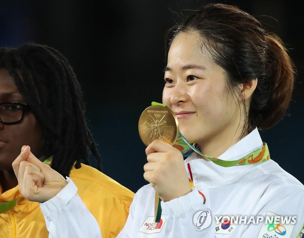 韩跆拳道选手吴惠利夺金