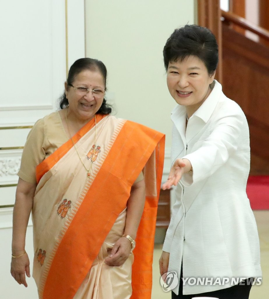 朴槿惠会见印度人民院议长