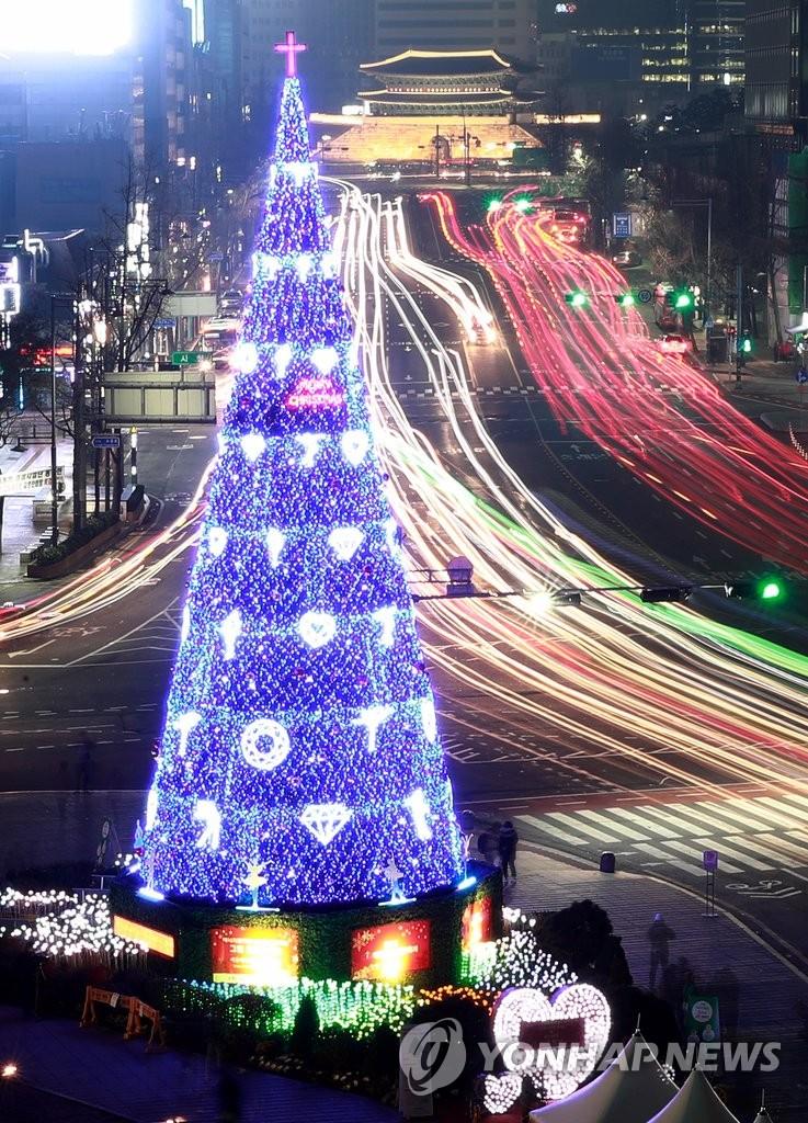 首尔广场点亮巨型圣诞树