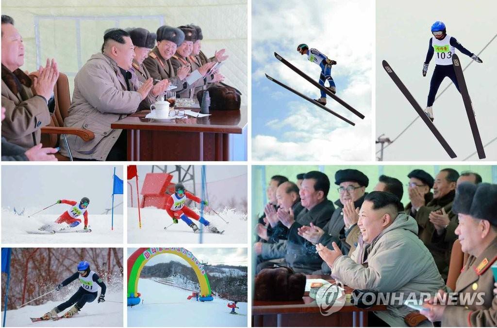 金正恩观看滑雪比赛