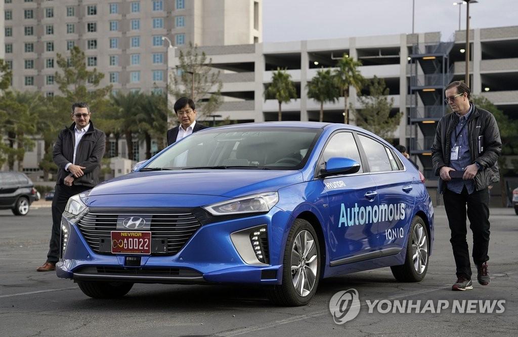 现代自动驾驶车在美国进行试驾