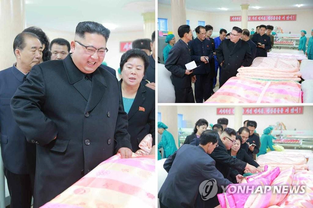 金正恩视察平壤纺织工厂
