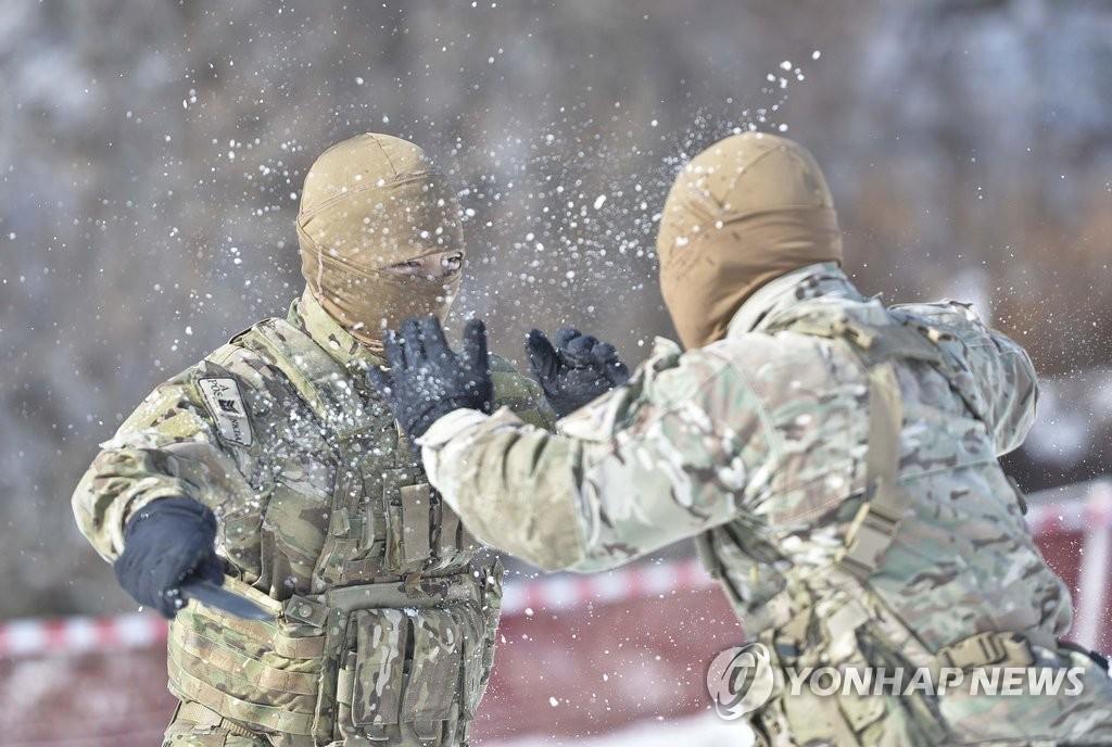 韩海军特战团展开抗寒训练