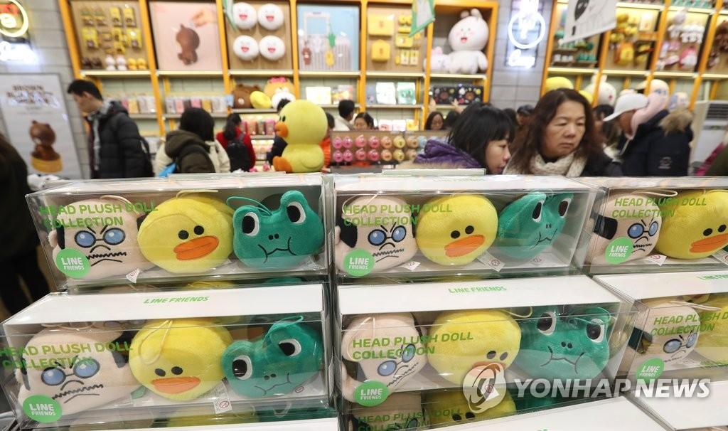 韩卡通形象销售额大增